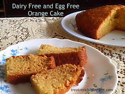 Dairy Free and Egg Free Orange Cake Recipe  @ http://treatntrick.blogspot.com