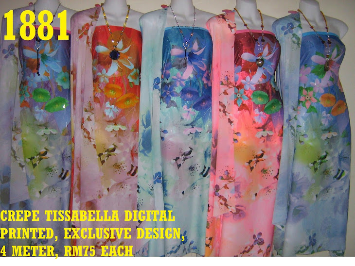 CTD 1881: CREPE TISSABELLA DIGITAL PRINTED, EXCLUSIVE DESIGN, 4 METER, 5 COLORS