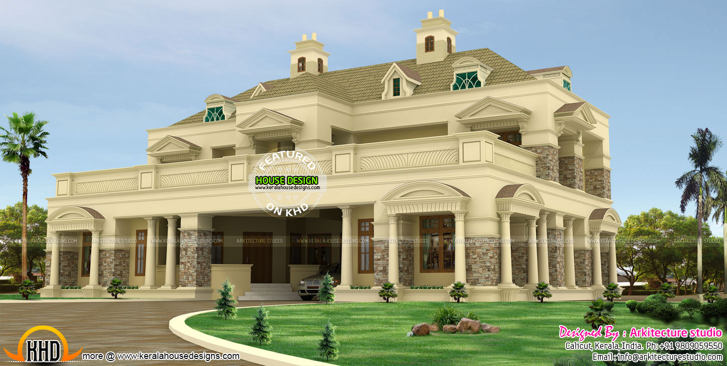Luxury pillar type slope roof home kerala home design for Colonial style home design in kerala