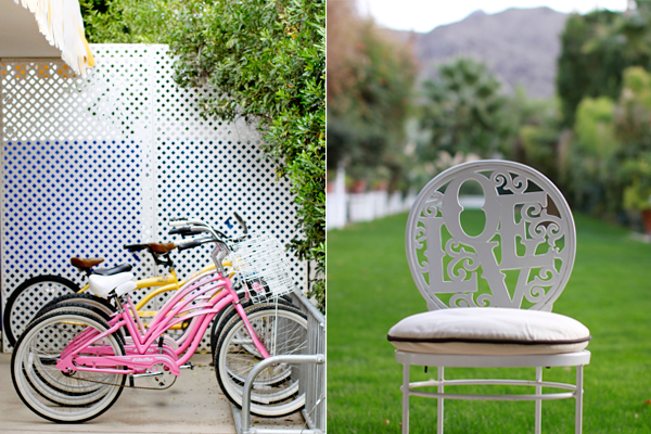 "Pink bikes and ""love"" chairs at The Parker Palm Springs"