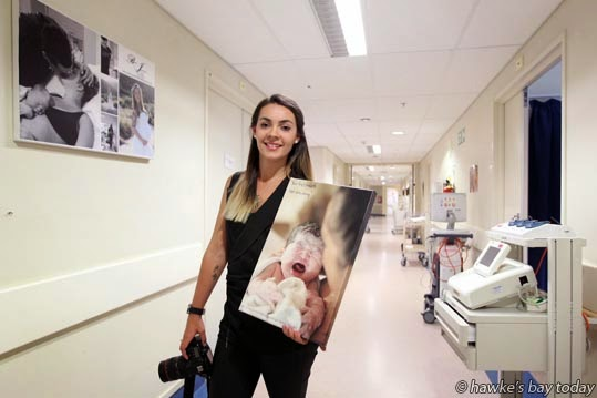 Aleish Giddens, Hastings, Hawke's Bay's only birth photographer, pictured in one of the hallways of Ata Rangi, the maternity ward at Hawke's Bay Hospital, Hastings. photograph