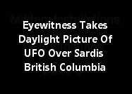 Eyewitness Takes A Daylight Picture Of A UFO Over Sardis British Columbia (Picture)