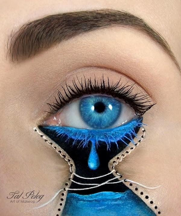 Maquiagem lágrima e pele costurada