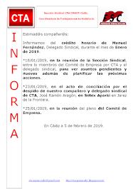 C.T.A. INFORMA CRÉDITO HORARIO MANUEL FERNANDEZ, ENERO 2019
