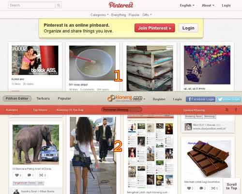 Kloneng.com Situs duplikat Pinterest