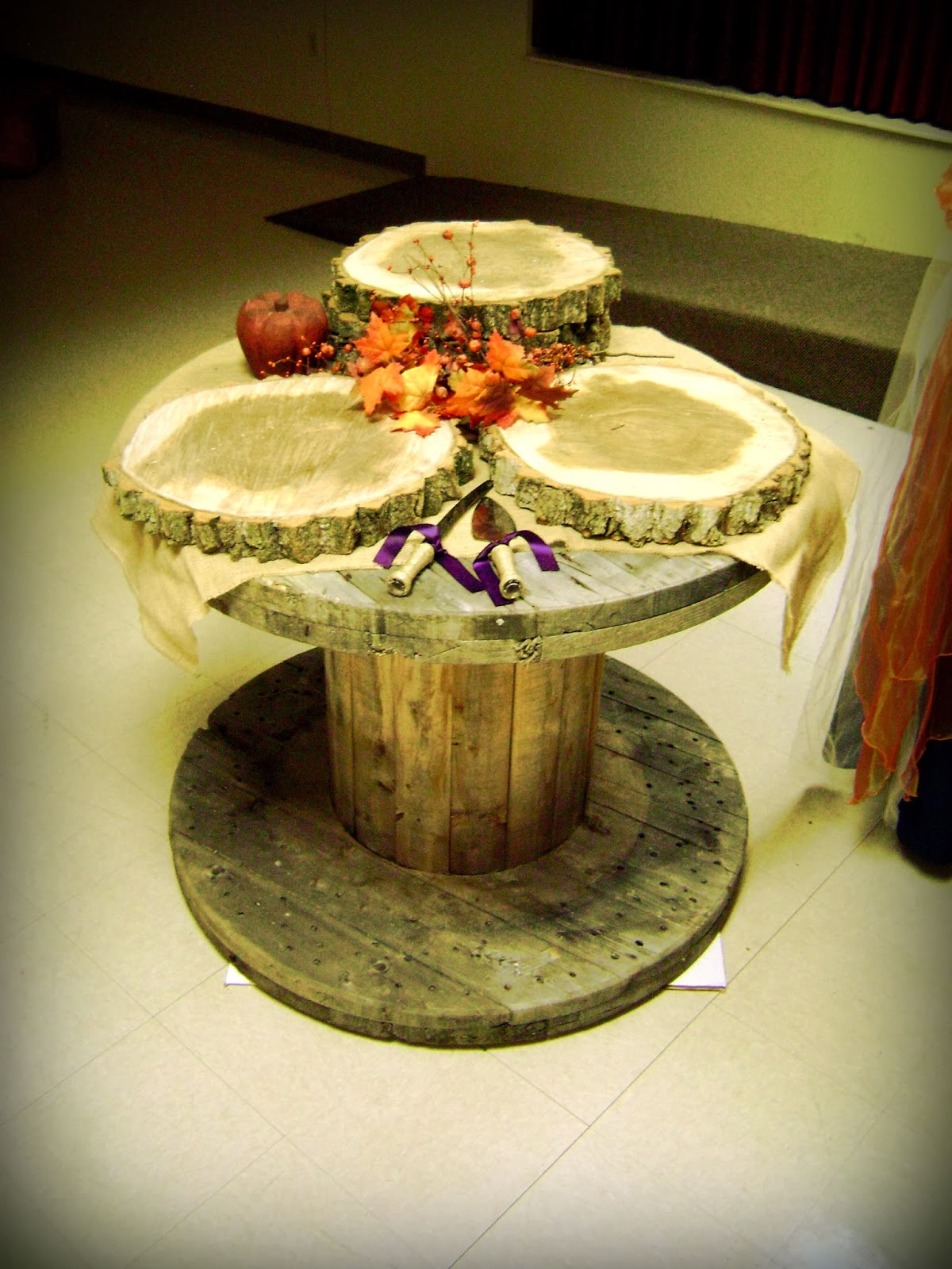Handcrafted Occasions: Rustic Wooden Wire Spool Cake Table