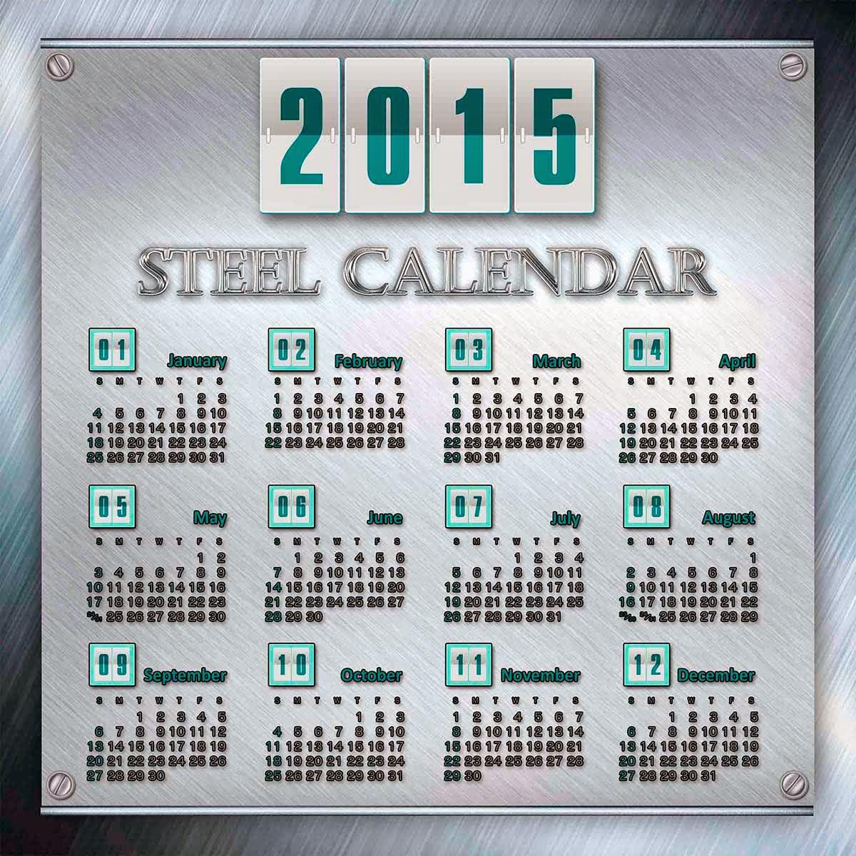 Placa metálica con un bonito calendario 2015 para Estados Unidos