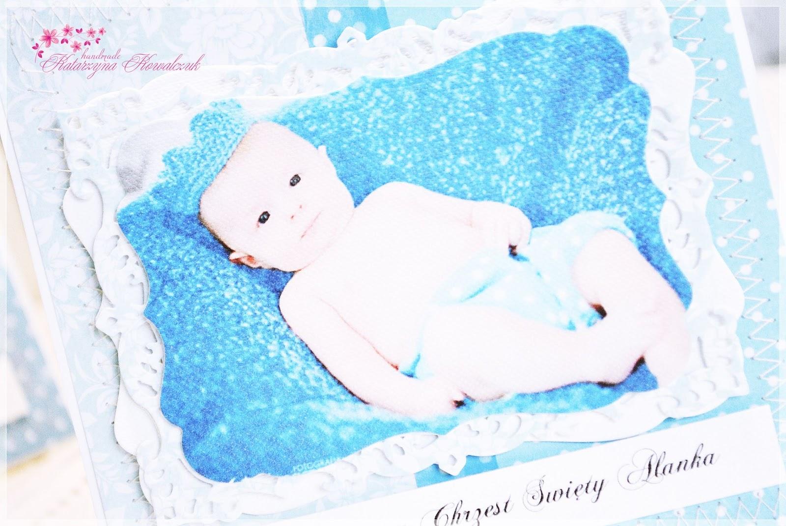 zaproszenia na chrzest święty ze zdjęciem dziecka scrapbooking