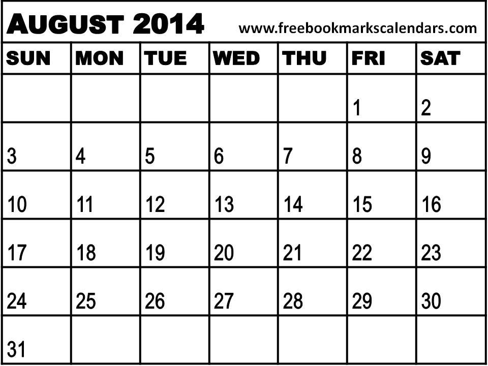 August Calendar 2014 : Blank august calendar white gold