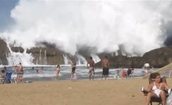 Massive Wave at Playa Puerto Nuevo in Vega Baja, Puerto Rico
