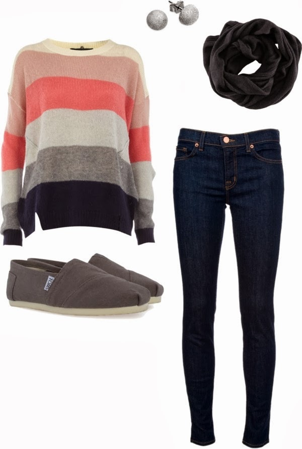 Adorable Sweater, scarf, pants and shoes fall fashion combination