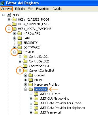 Registro de Servicios de Windows XP