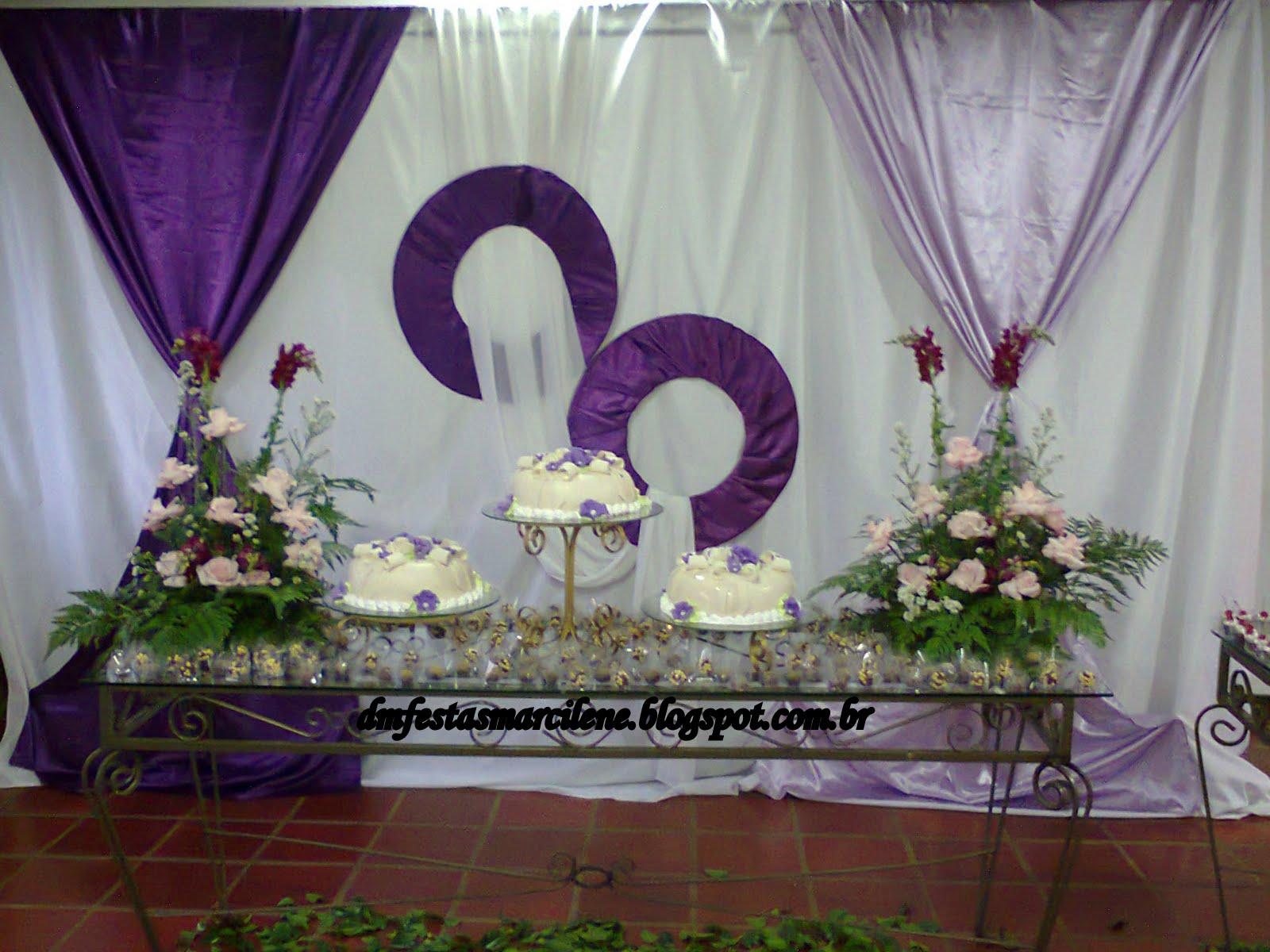 Dm festas e decorações Decoração de casamento lilás e roxo
