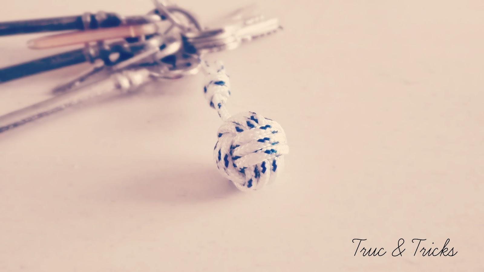 diy : porte-clef corde (noeud pomme-de-touline) - truc & tricks