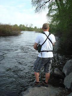 Back view of me fishing with the Ribz Front Pack