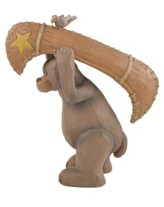 bear with canoe blossom bucket figurine