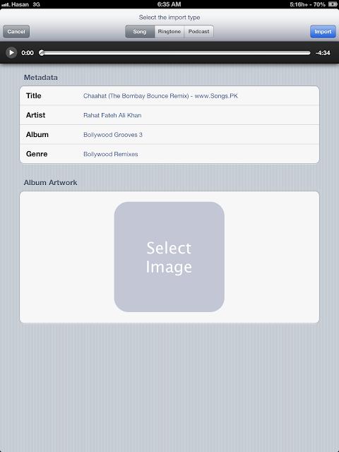 Bridge music importer tweak for iPhone