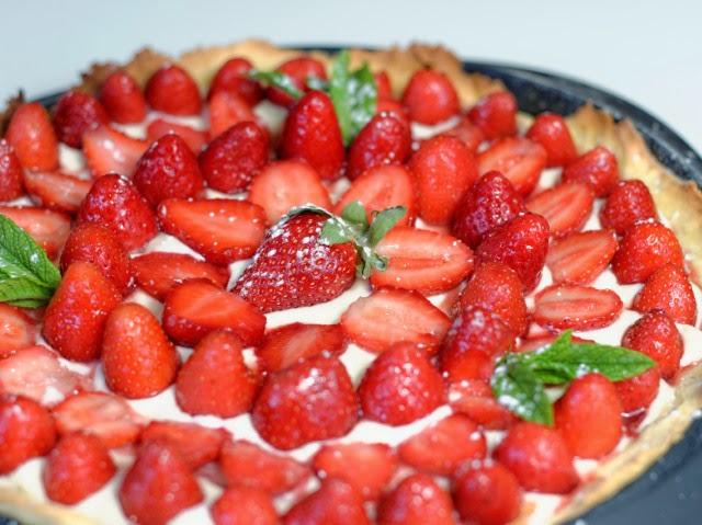 Tarte aux fraises confites