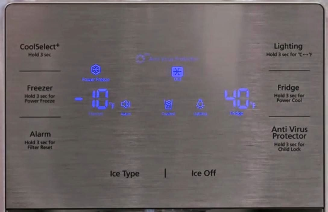 Samsung smart refrigerator T9000 display showing temperature.