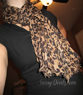 girl wearing a leopard pattern shawl scarf wrap from amazon