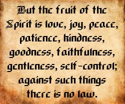But the fruit of the Spirit is love, joy, peace, patience, kindness, goodness, faithfulness, gentleness, self-control; against such things there is no law.