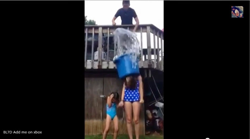 The girl in the video was accidentally hit by a bucket full of ice water