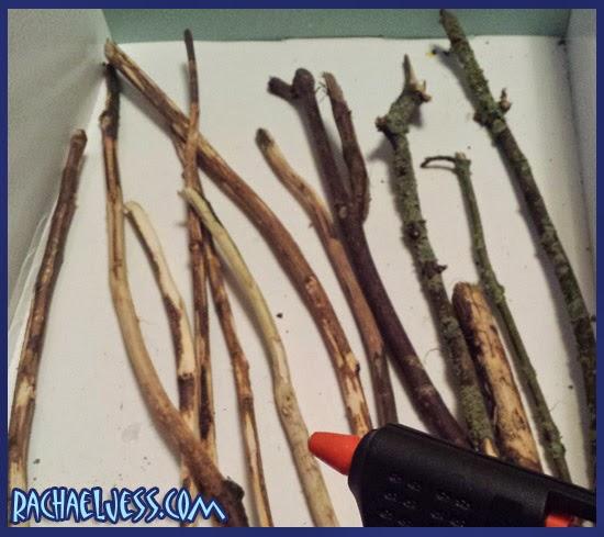 Preparing our sticks to transform them into wands