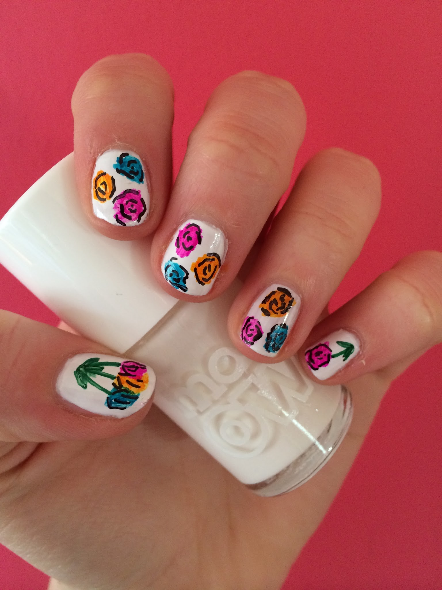 The Stylish Baker: Easy Flower Sharpie Nail Art Tutorial