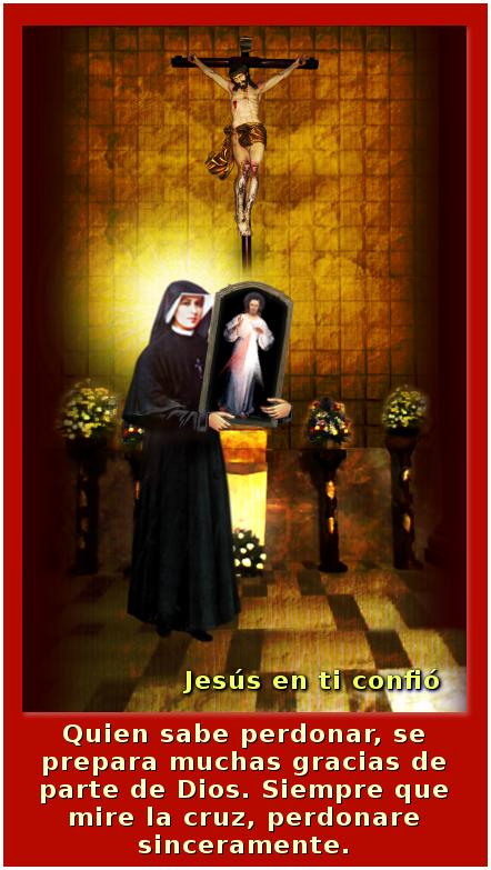 santa faustina con un mensaje y el cuadro de la divina misericordia en brasos