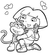 dora coloring pages, cartoon coloring pages 