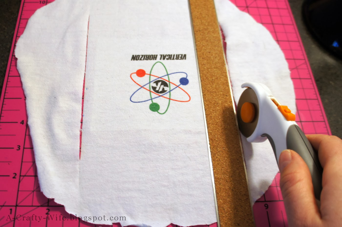 Use rotary cutter to trim tshirts to size before sewing | A Crafty Wife