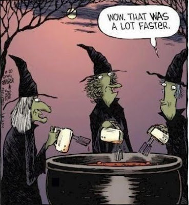 funny witch comic, witch halloween, witch cauldron, witches with hand mixers, witches easier
