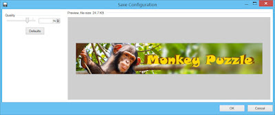 Paint.NET JPEG save dialog with 74% quality level selected