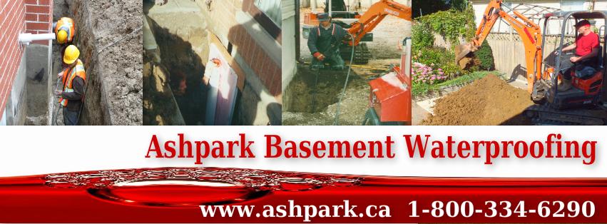 Ashpark Basement Waterproofing Contractors Ontario dial 310-LEAK or 1-800-334-6290