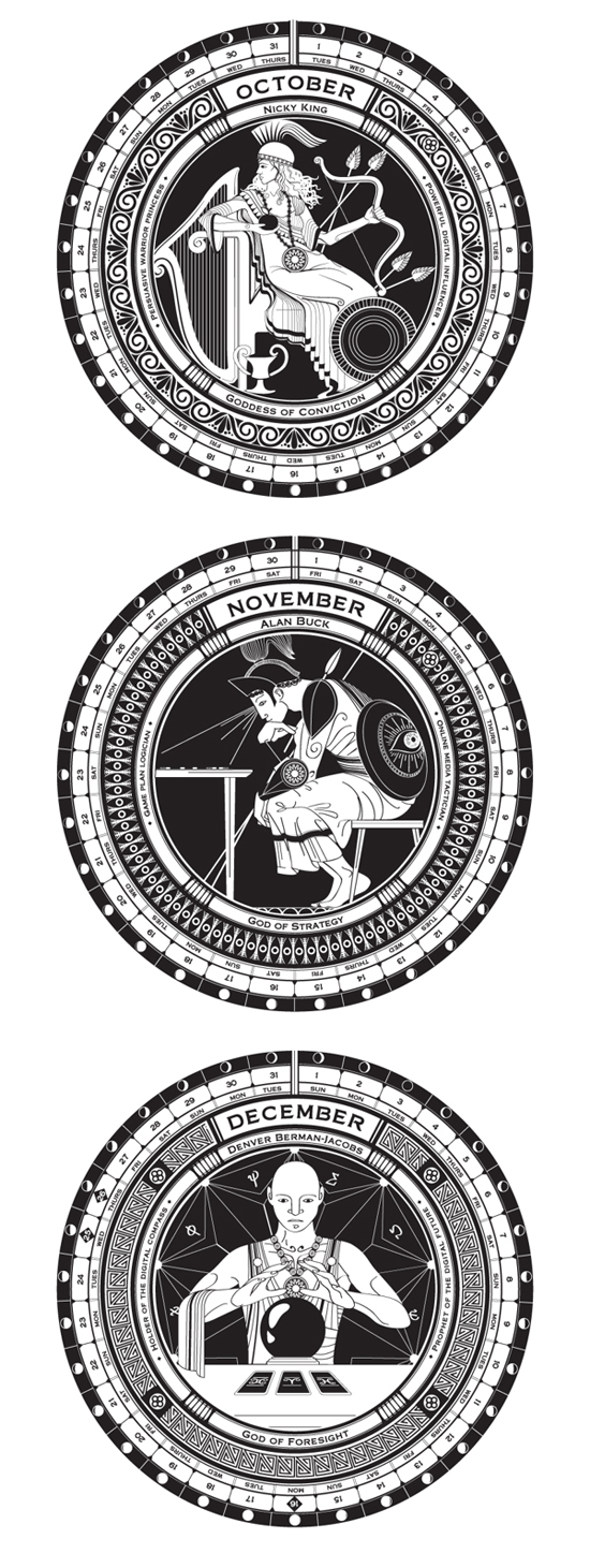 Letterpressed Greek Gods 2013 wall calendar designed by Dani Loureiro and Andrew Ringrose for Habari Media