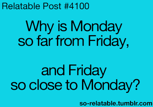 why is monday so far from friday and friday so to