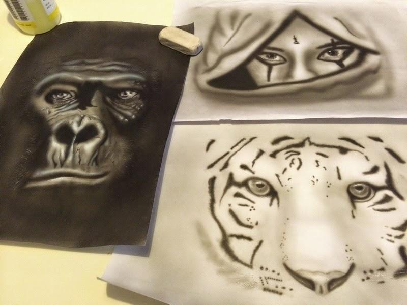 rea pour exercice peinture aerographie airbrush regard gorille,tigre,femme bysoairdisign