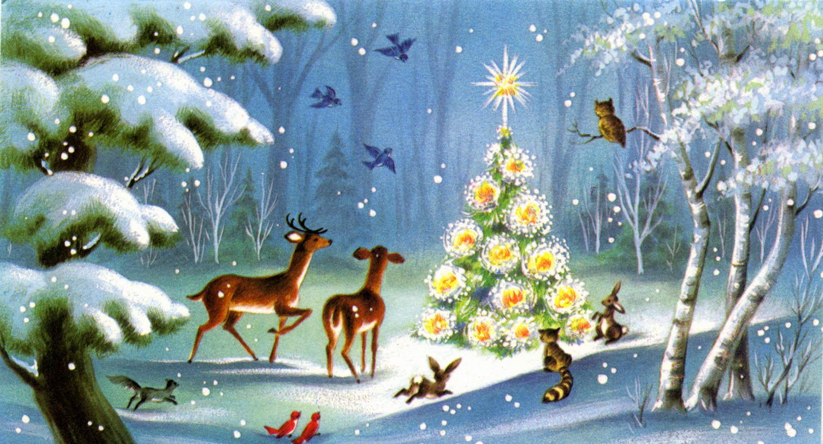 Vintage Animal Scene Christmas Cards wallpapers (1600 x 863 )