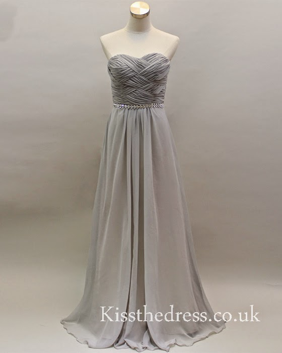 grey long bridesmaid dress