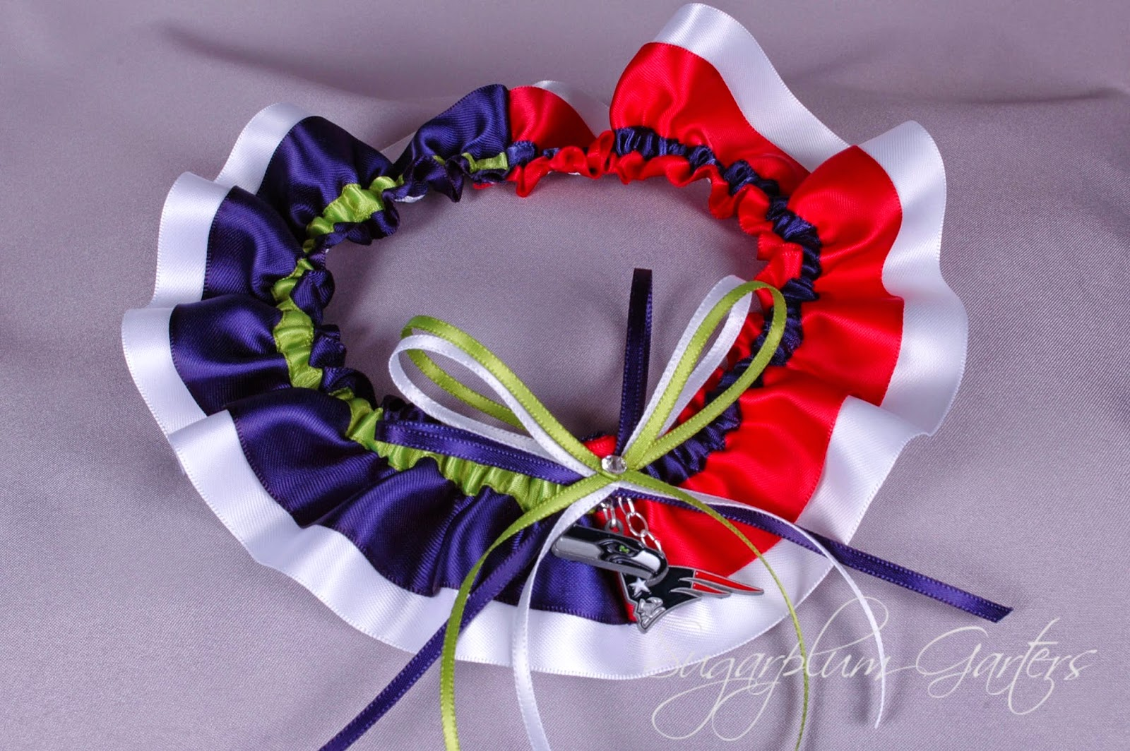 Superbowl XLIX Seattle Seahawks vs New England Patriots Rival Garter by Sugarplum Garters