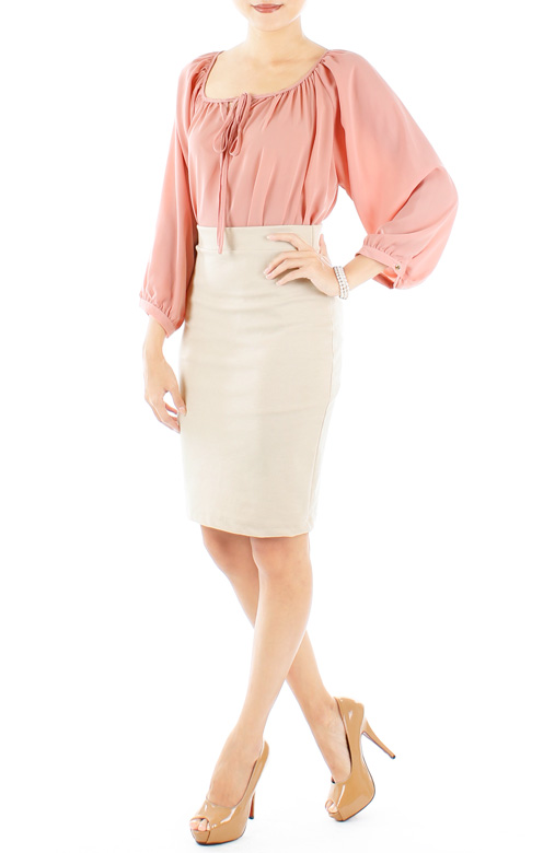 Blush Pink Endearing Peasant Blouse with Ribbon Tie