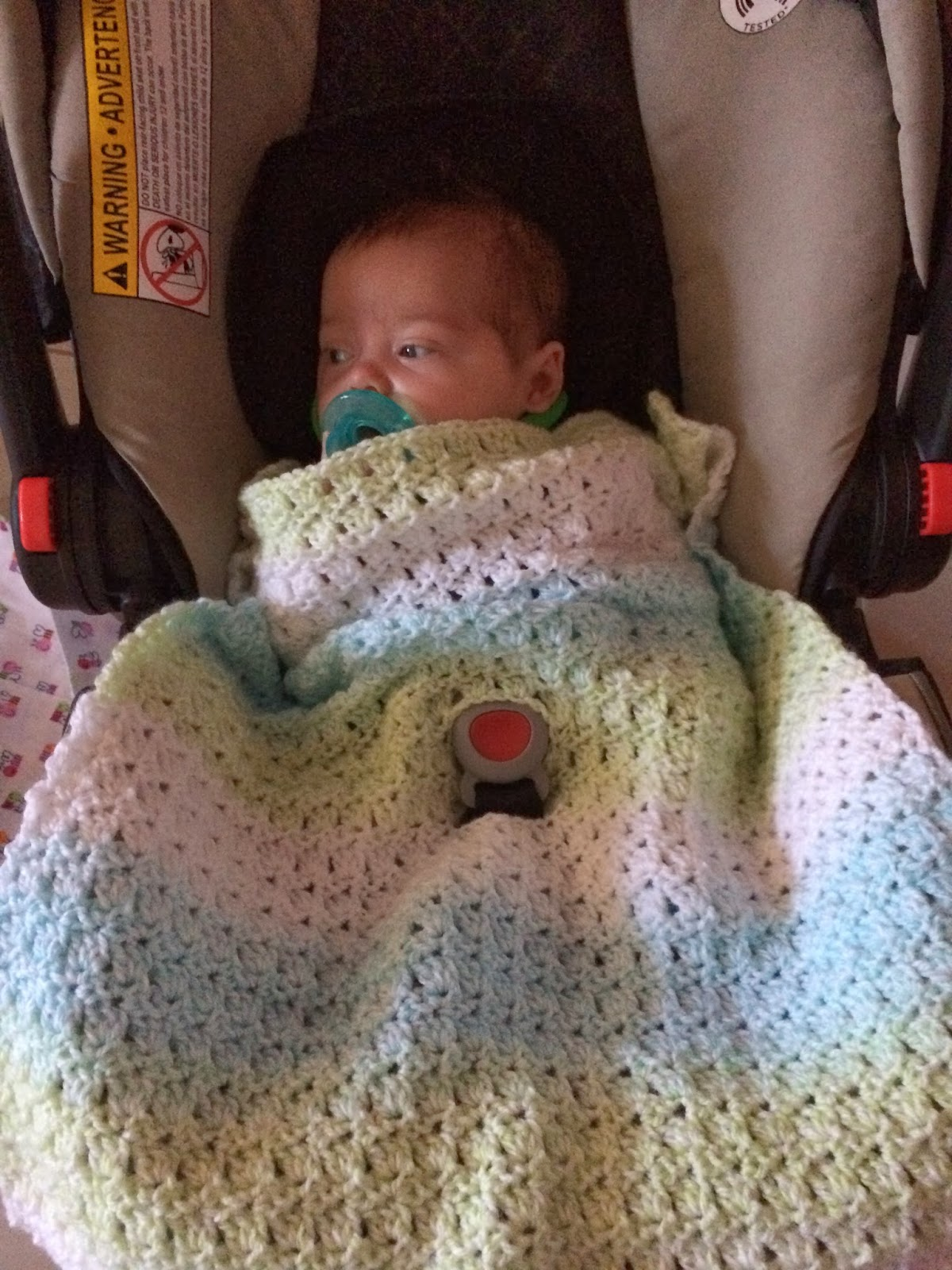 Car Seat Blanket Knitting Pattern : Not My Nanas Crochet!: Crochet Baby Car Seat Blanket in Primrose Stitch ...