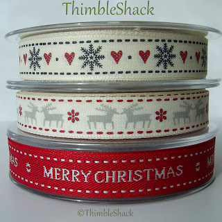 Berisford Grosgrain Christmas Ribbon, Natural Charms - Reindeer, Hearts, Merry Christmas - red. green, natural