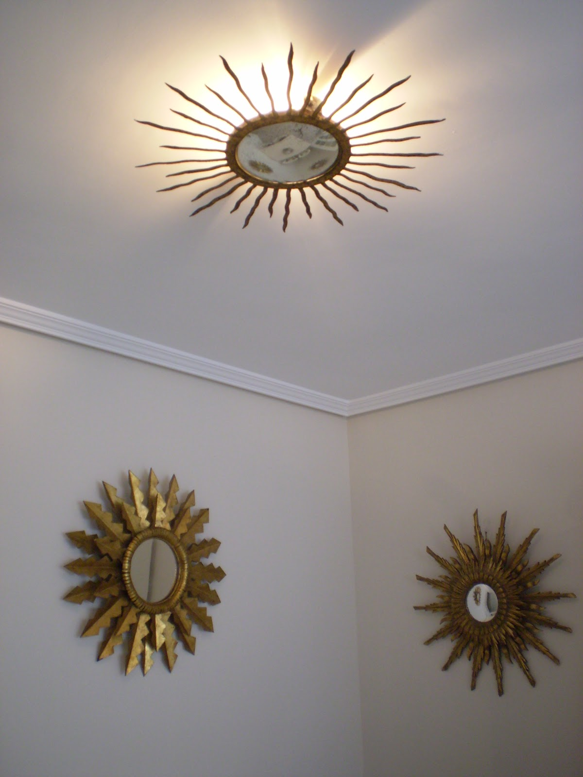 Vintager a espejo lampara de techo o aplique de pared en for Espejos decorativos con forma de sol