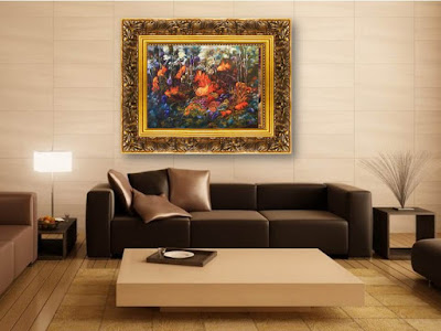 Картина маслом 9 Золотые рыбки в интерьере