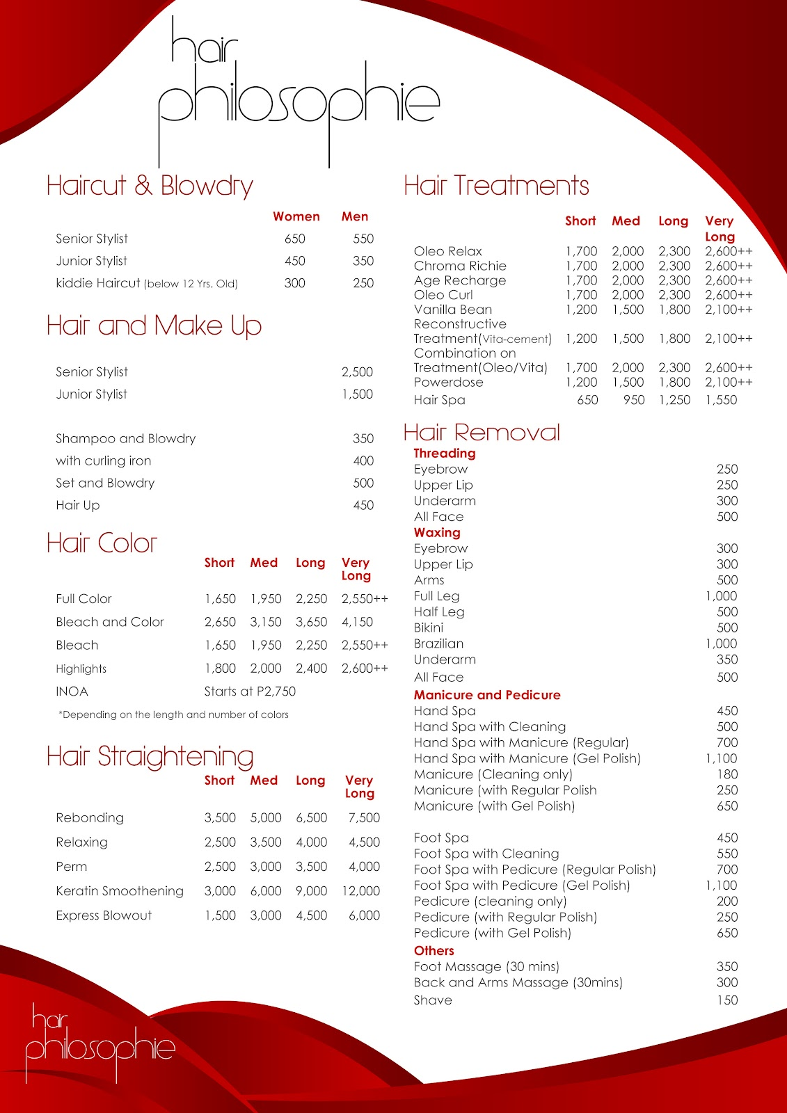 Price list hair cake ideas and designs for F salon jaipur price list
