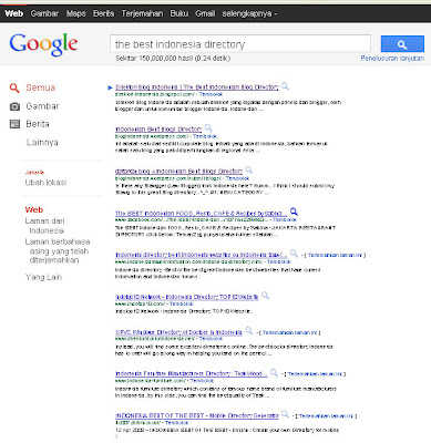 Google search result for the best indonesian blog directory