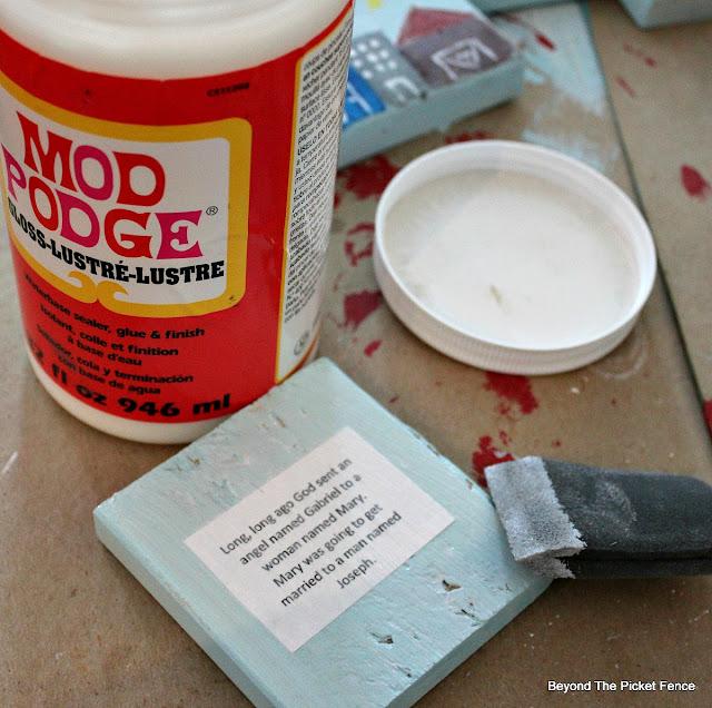 modge podge, decoupage, DIY, story blocks, kids gift idea, http://bec4-beyondthepicketfence.blogspot.com/2015/11/12-days-of-christmas-day-3-christmas.html