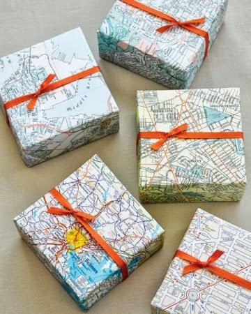pakowanie prezentów motyw mapy Eco Manufaktura