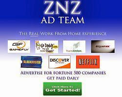 Work From Home With ZNZ Ad Team - Get Paid Daily!
